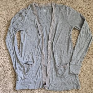J Crew Perfect fit Mixed-tape gray cardigan